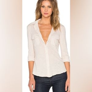 james perse pale pink button up shirt side panels
